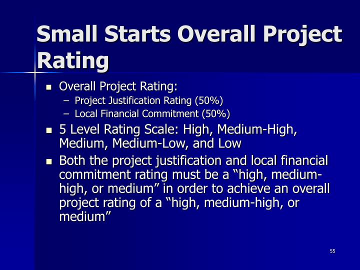 Small Starts Overall Project Rating