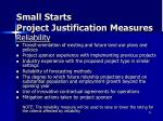 small starts project justification measures3