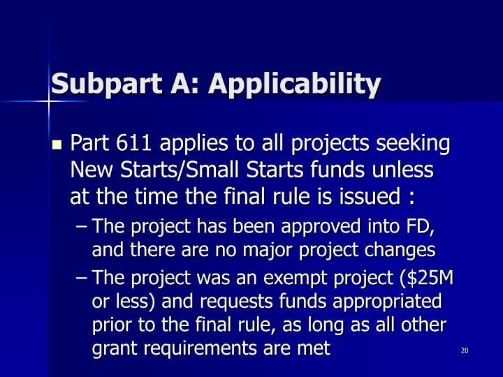 Subpart A: Applicability