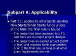 subpart a applicability