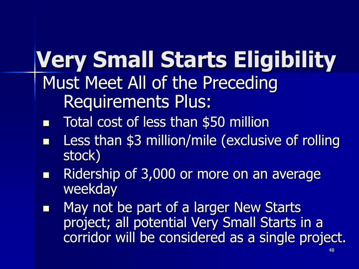 Very Small Starts Eligibility