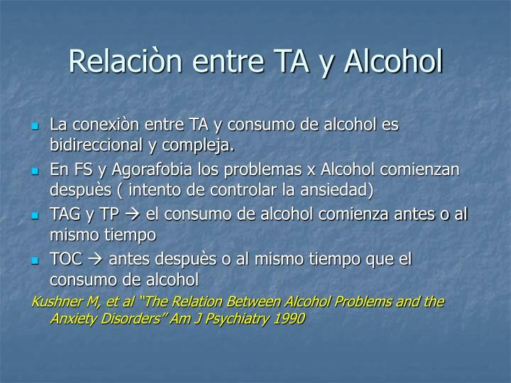 Relaciòn entre TA y Alcohol