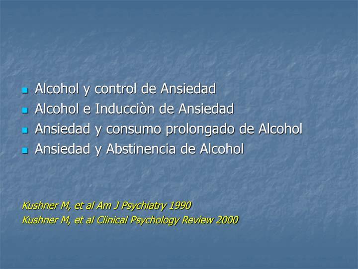 Alcohol y control de Ansiedad