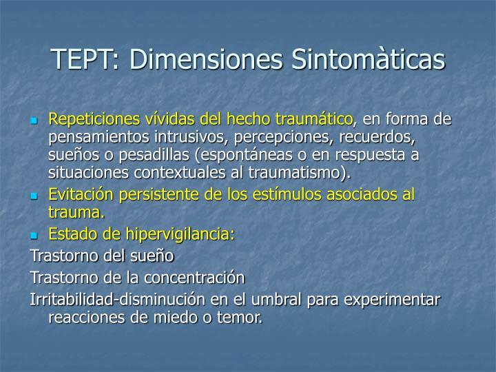 TEPT: Dimensiones Sintomàticas