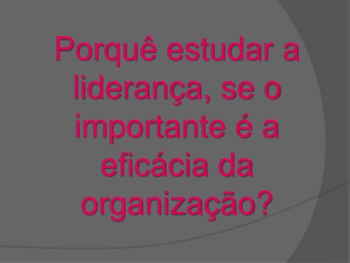 Porquê estudar a liderança, se o importante é a eficácia da organização?