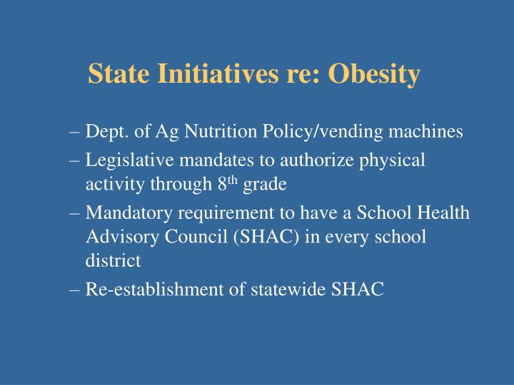 State Initiatives re: Obesity