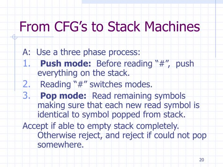 From CFG's to Stack Machines