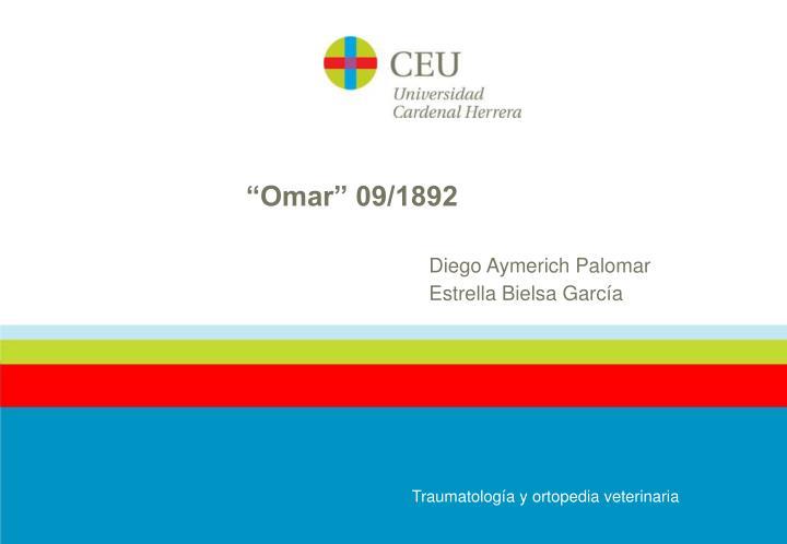 """""""Omar"""" 09/1892"""