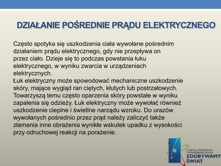 Działanie pośrednie prądu elektrycznego