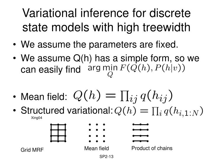 Variational inference for discrete state models with high treewidth