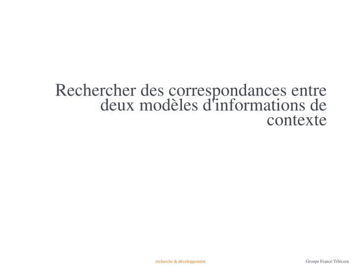 Rechercher des correspondances entre deux modèles d'informations de contexte