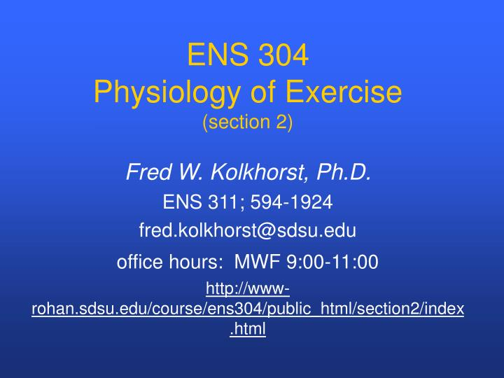 ens 304 physiology of exercise section 2
