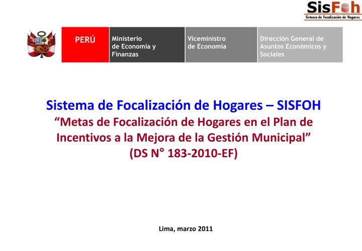 Sistema de Focalización de Hogares – SISFOH
