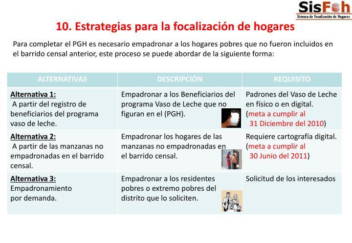 10. Estrategias para la focalización de hogares