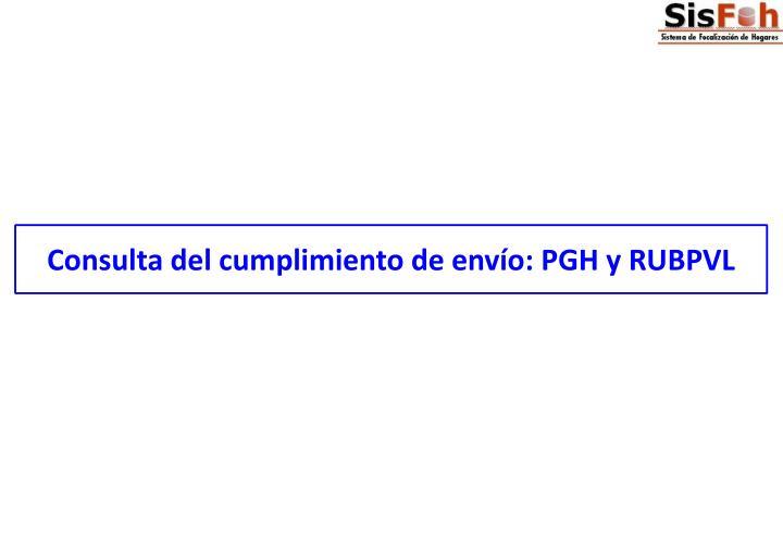 Consulta del cumplimiento de envío: PGH y RUBPVL