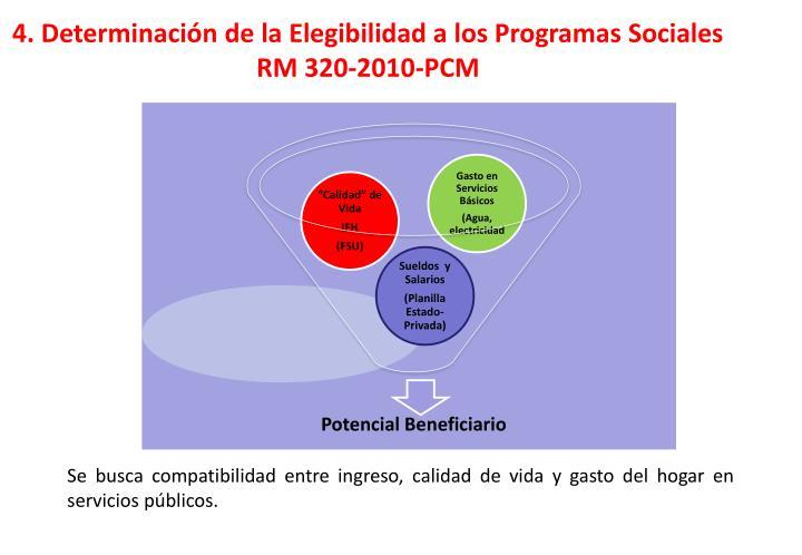 4. Determinación de la Elegibilidad a los Programas Sociales RM 320-2010-PCM