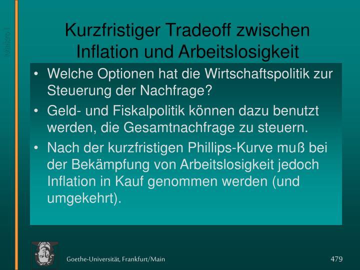 Kurzfristiger Tradeoff zwischen Inflation und Arbeitslosigkeit