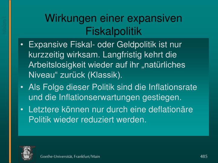 Wirkungen einer expansiven Fiskalpolitik