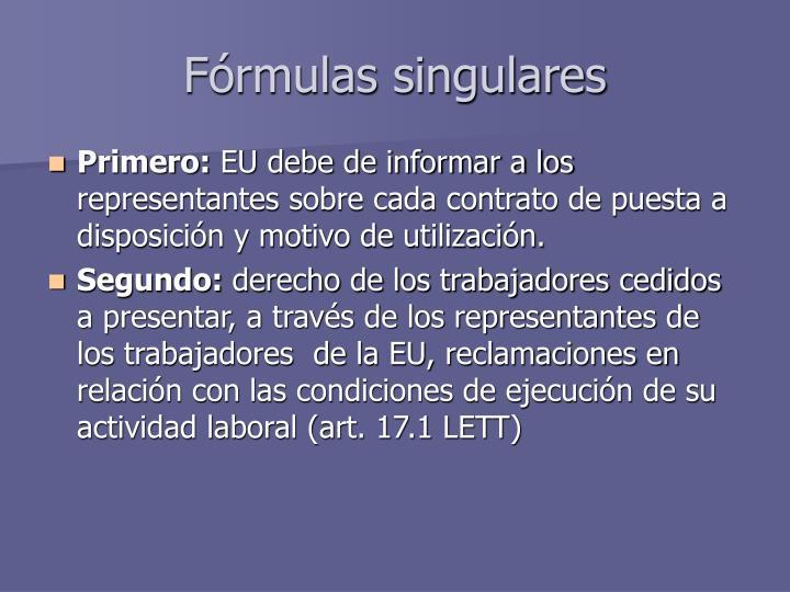 Fórmulas singulares