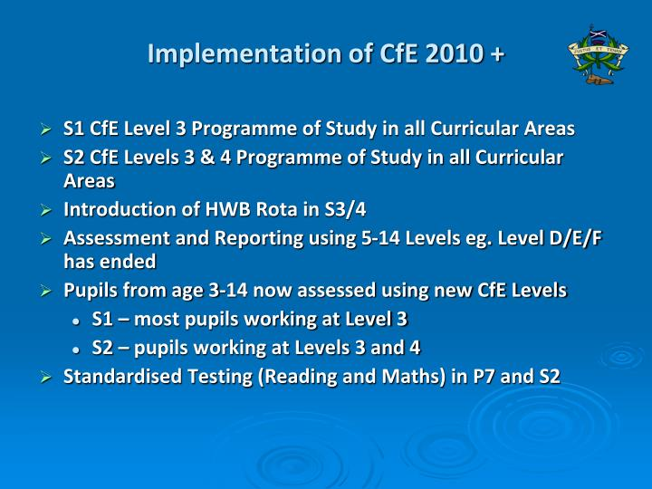 Implementation of CfE 2010 +