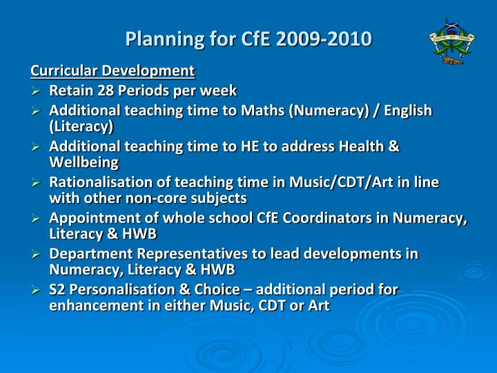 Planning for CfE 2009-2010