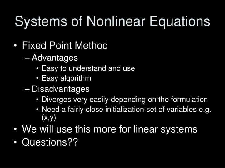Systems of Nonlinear Equations