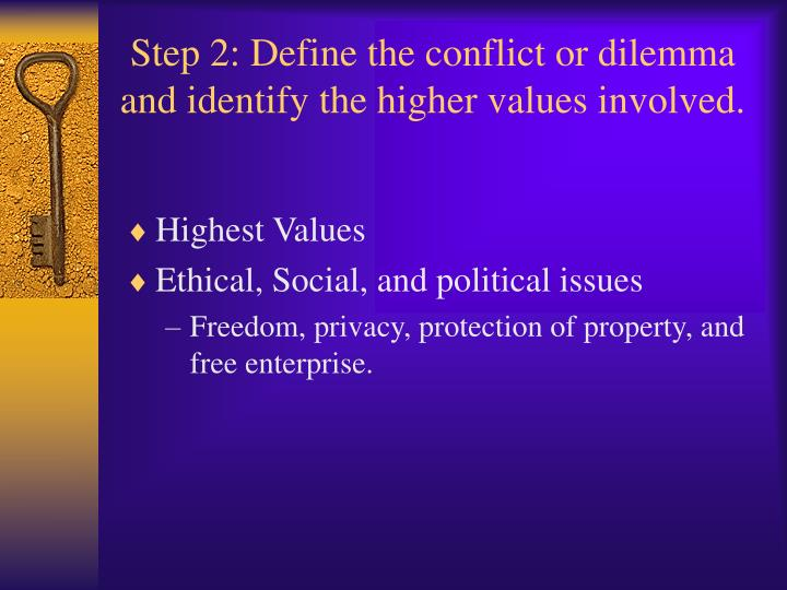 Step 2: Define the conflict or dilemma and identify the higher values involved.