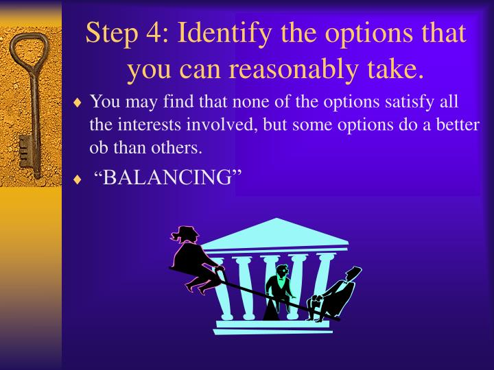 Step 4: Identify the options that you can reasonably take.