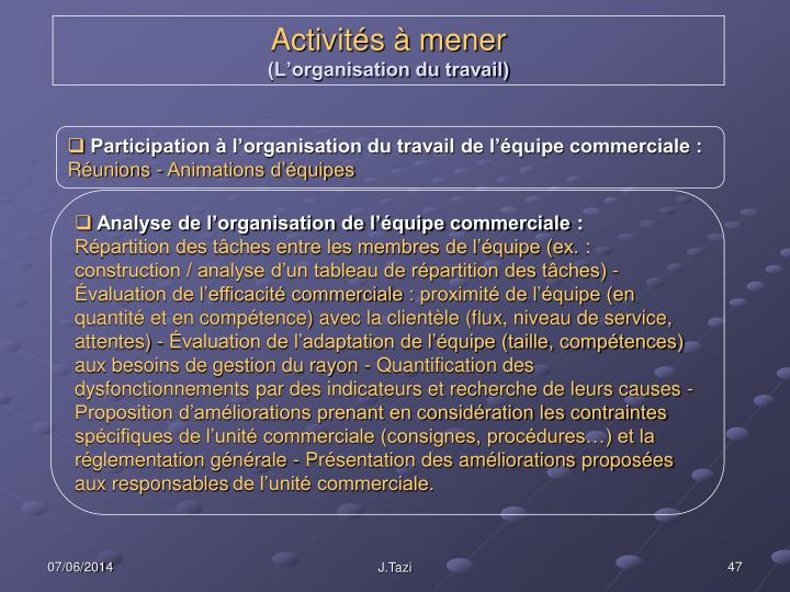 Participation à l'organisation du travail de l'équipe commerciale :