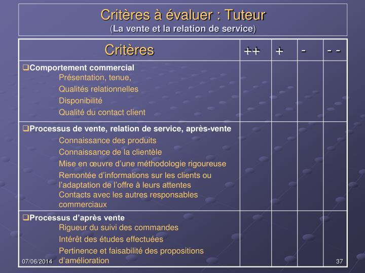 Critères à évaluer : Tuteur