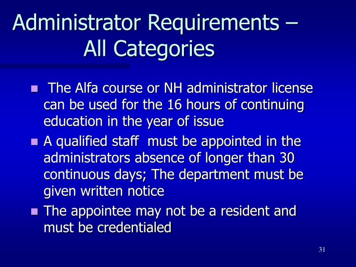 Administrator Requirements – All Categories
