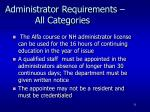 administrator requirements all categories