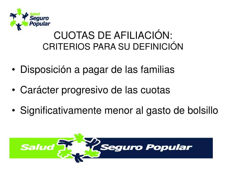 CUOTAS DE AFILIACIÓN:
