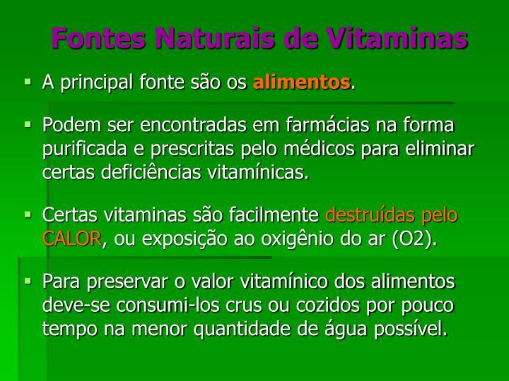 Fontes Naturais de Vitaminas