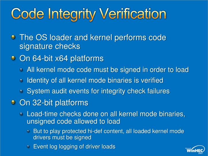 Code Integrity Verification