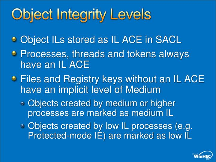 Object Integrity Levels