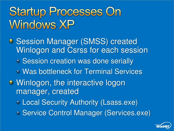 Startup Processes On Windows XP