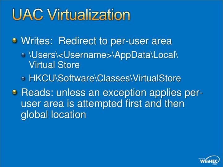 UAC Virtualization