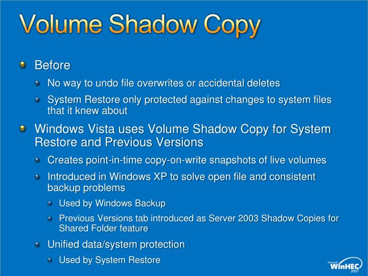 Volume Shadow Copy