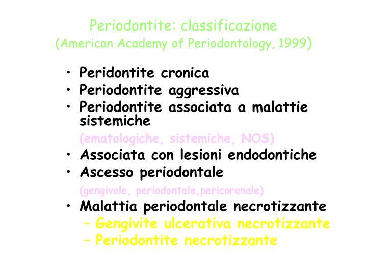 Periodontite: classificazione