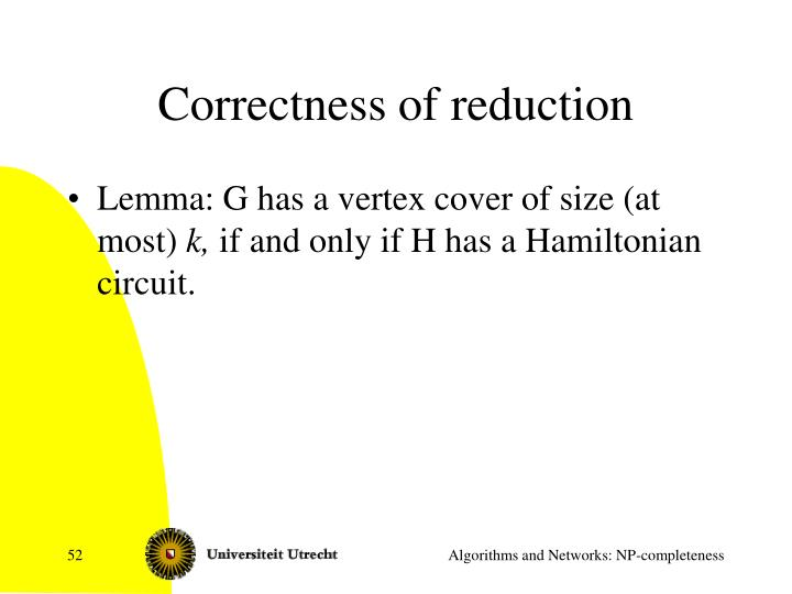 Correctness of reduction