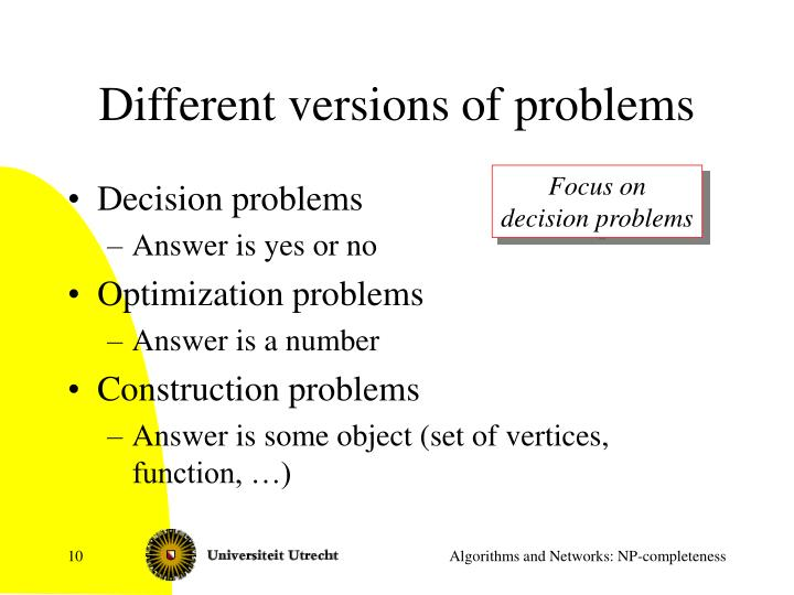Different versions of problems