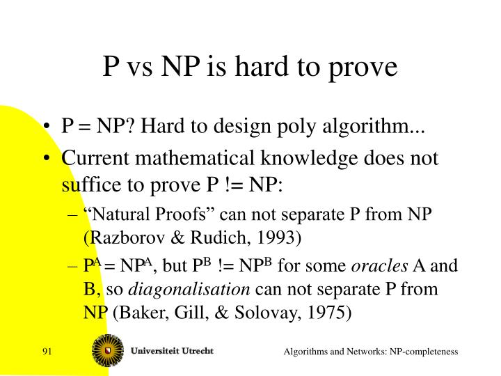 P vs NP is hard to prove