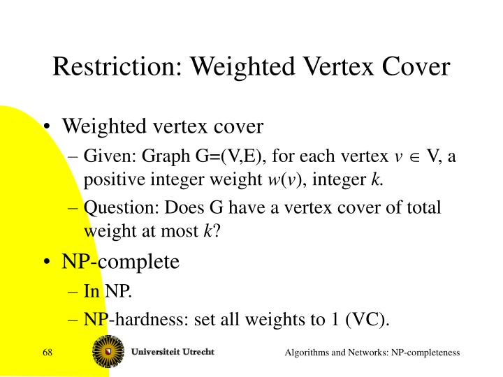 Restriction: Weighted Vertex Cover