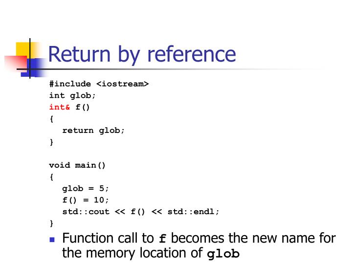 Return by reference