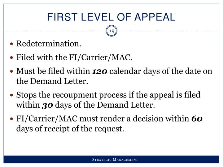 FIRST LEVEL OF APPEAL