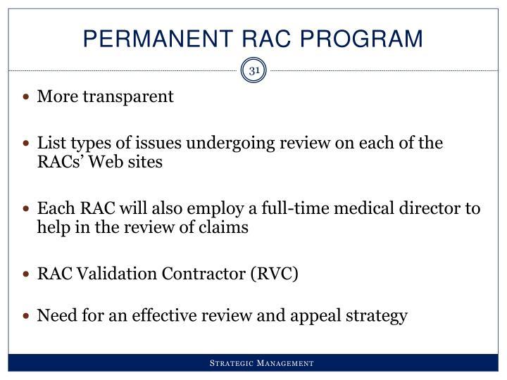 Permanent RAC Program