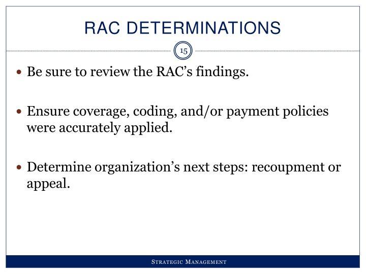 RAC Determinations