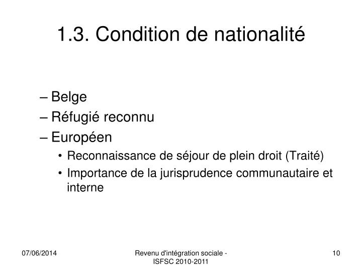 1.3. Condition de nationalité