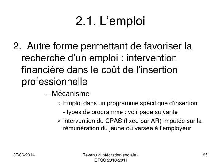 2.1. L'emploi